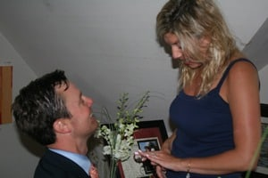 Chuck proposes marriage to Jill at Tyme Gallery
