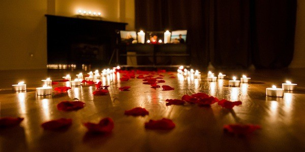 Anniversary Room Setup Rose Petals And Tea Candles